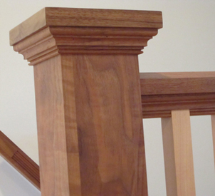 close-up of top of banister