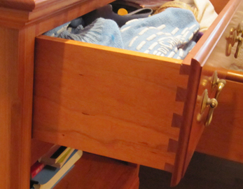 drawer of nightstand constructed by Welch Millwork and Design